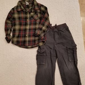 Cargo pants and flannel shirts Outfit 3T